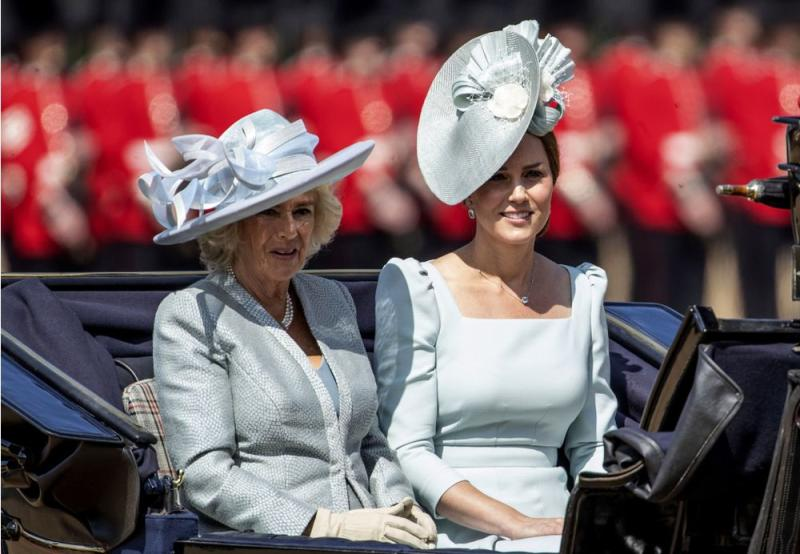 Kate with Camilla, Duchess of Cornwall arriving at the 2018 Trooping the Colour.