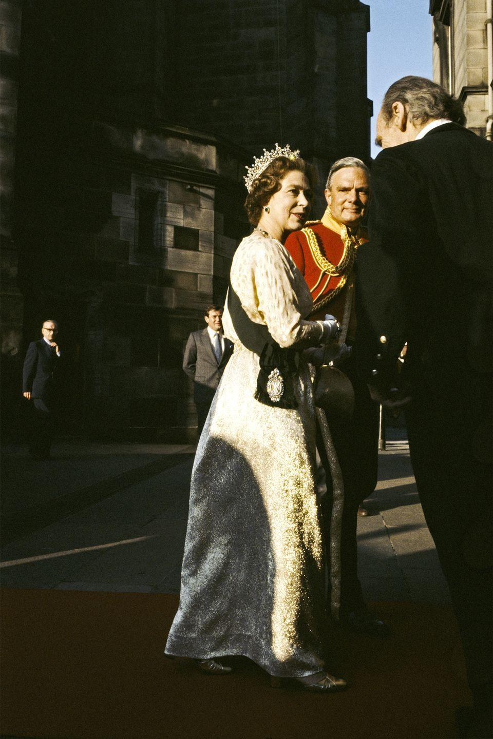 <p>Here she is in a captivating ball gown and tiara for an appearance at the Royal Scottish Piper's Society Ball Assembly Rooms, in Edinburgh, Scotland.</p>