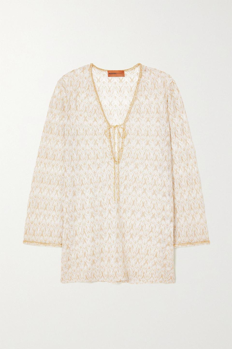 """<p><strong>Missoni</strong></p><p>net-a-porter.com</p><p><strong>$1260.00</strong></p><p><a href=""""https://go.redirectingat.com?id=74968X1596630&url=https%3A%2F%2Fwww.net-a-porter.com%2Fen-us%2Fshop%2Fproduct%2Fmissoni%2Fclothing%2Fcoverups%2Fmare-metallic-crochet-knit-kaftan%2F2204324138987167&sref=https%3A%2F%2Fwww.townandcountrymag.com%2Fstyle%2Ffashion-trends%2Fg27681571%2Fbest-beach-coverups%2F"""" rel=""""nofollow noopener"""" target=""""_blank"""" data-ylk=""""slk:Shop Now"""" class=""""link rapid-noclick-resp"""">Shop Now</a></p><p>If you want a fun knit <a href=""""https://www.townandcountrymag.com/style/fashion-trends/g32390597/best-caftan-dresses/"""" rel=""""nofollow noopener"""" target=""""_blank"""" data-ylk=""""slk:caftan"""" class=""""link rapid-noclick-resp"""">caftan</a>, when in doubt go for a Missoni whose knits are second to none. </p>"""