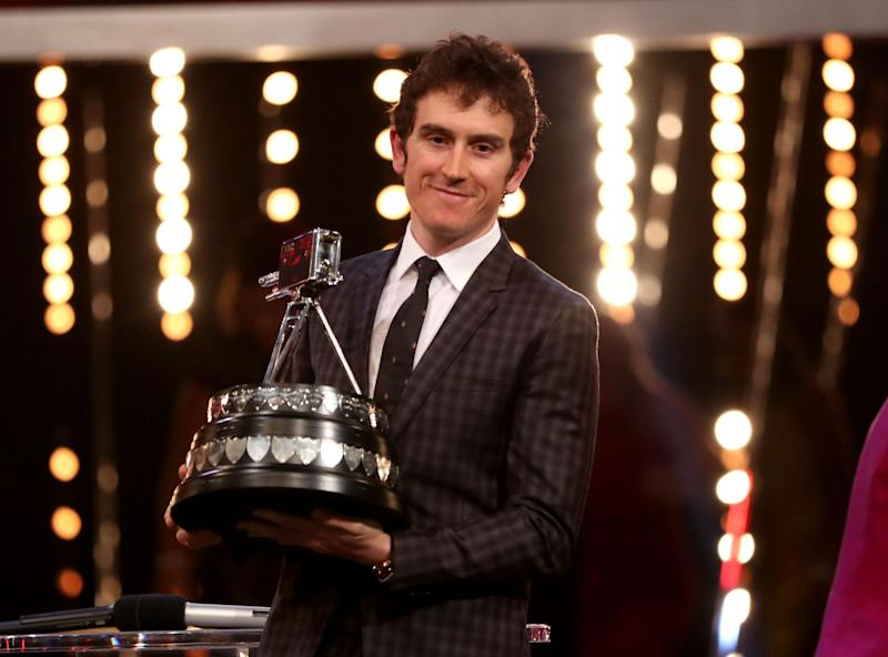 Geraint Thomas poses his his SPOTY prize last year Photo: PA