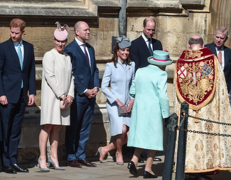 WINDSOR, ENGLAND - APRIL 21: (L-R) Prince Harry, Duke of Sussex, Zara Tindall, Mike Tindall, Catherine, Duchess of Cambridge and Prince William, Duke of Cambridge greet Queen Elizabeth II as she arrives for the Easter Sunday service at St George's Chapel on April 21, 2019 in Windsor, England. (Photo by Eamonn M. McCormack/Getty Images) | Eamonn M. McCormack—Getty Images