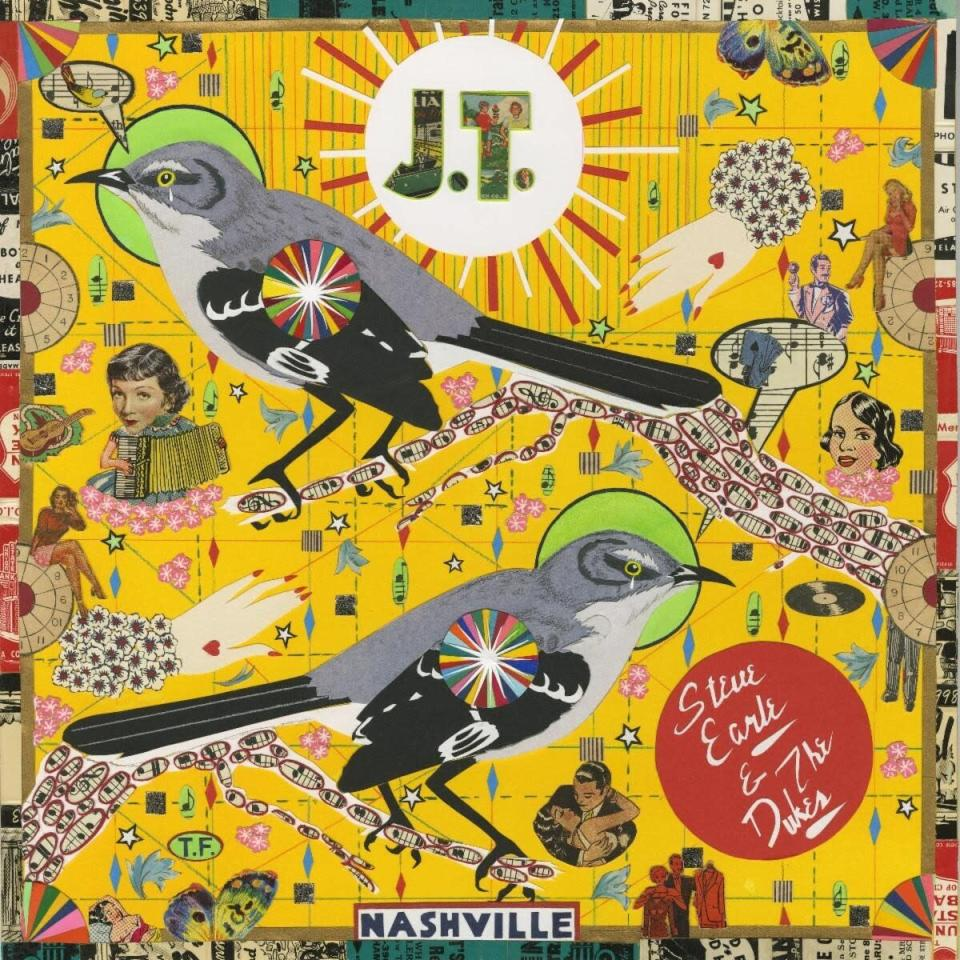 """This cover image released by New West Records shows """"J.T."""" by Steve Earle & The Dukes, covering 10 songs from the catalog of Earle's son Justin Townes Earle, who died in August. The album, released Monday, is a tribute to his son. (New West Records via AP)"""