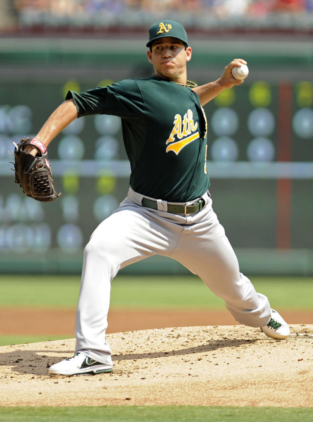 Oakland Athletics starting pitcher Tommy Milone throws in the first inning of a baseball game against the Texas Rangers, Sunday, Sept. 15, 2013, in Arlington, Texas. (AP Photo/Matt Strasen)