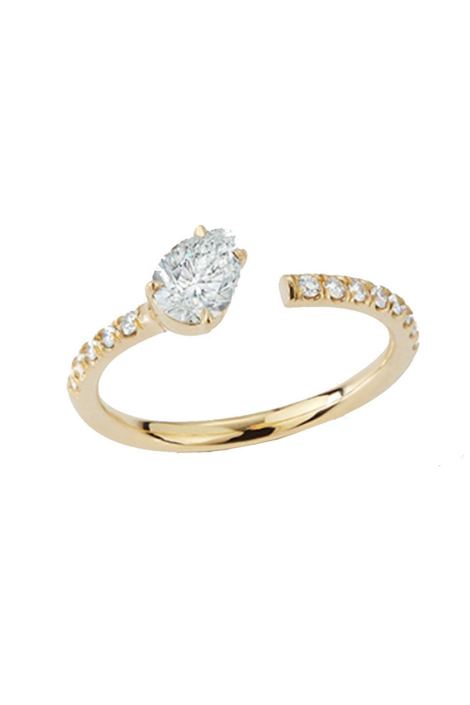 """<p><strong>Jemma Wynne</strong></p><p>jemmawynne.com</p><p><strong>$7560.00</strong></p><p><a href=""""https://jemmawynne.com/jewelry/prive-diamond-pear-open-ring/"""" rel=""""nofollow noopener"""" target=""""_blank"""" data-ylk=""""slk:Shop Now"""" class=""""link rapid-noclick-resp"""">Shop Now</a></p><p>Perfect for the bride who loves to stack her rings, Jemma Wynne offers an option that will sit beautifully alone<em> and</em> with a wedding band.</p>"""
