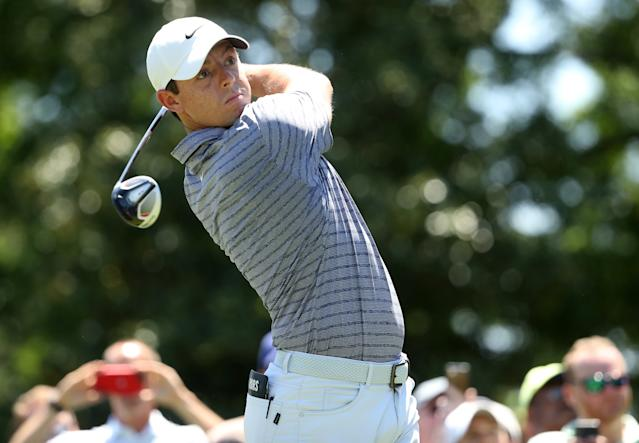 """<h1 class=""""title"""">Wells Fargo Championship - Round One</h1> <div class=""""caption""""> CHARLOTTE, NORTH CAROLINA - MAY 02: Rory McIlroy of Northern Ireland plays his shot from the third tee during the first round of the 2019 Wells Fargo Championship at Quail Hollow Club on May 02, 2019 in Charlotte, North Carolina. (Photo by Streeter Lecka/Getty Images) </div> <cite class=""""credit"""">Streeter Lecka</cite>"""