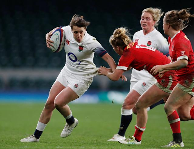Rugby Union - Women's International - England vs Canada - Twickenham Stadium, London, Britain - November 25, 2017 England's Katy Daley-McLean is tackled by Canada's Emily Belchos Action Images via Reuters/Paul Childs
