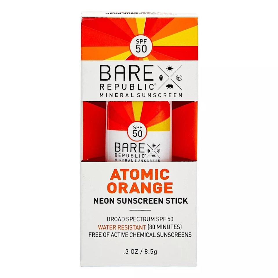"""If it takes a vibrant neon color to motivate you to reapply your sunscreen on the go, then so be it. Bare Republic's Mineral SPF 50 Neon Sunscreen Sticks are packed with moisturizing coconut oil and shea butter, have a sweet mango scent, and come in six bright shades. $8, Target. <a href=""""https://shop-links.co/1739834558181038181"""" rel=""""nofollow noopener"""" target=""""_blank"""" data-ylk=""""slk:Get it now!"""" class=""""link rapid-noclick-resp"""">Get it now!</a>"""