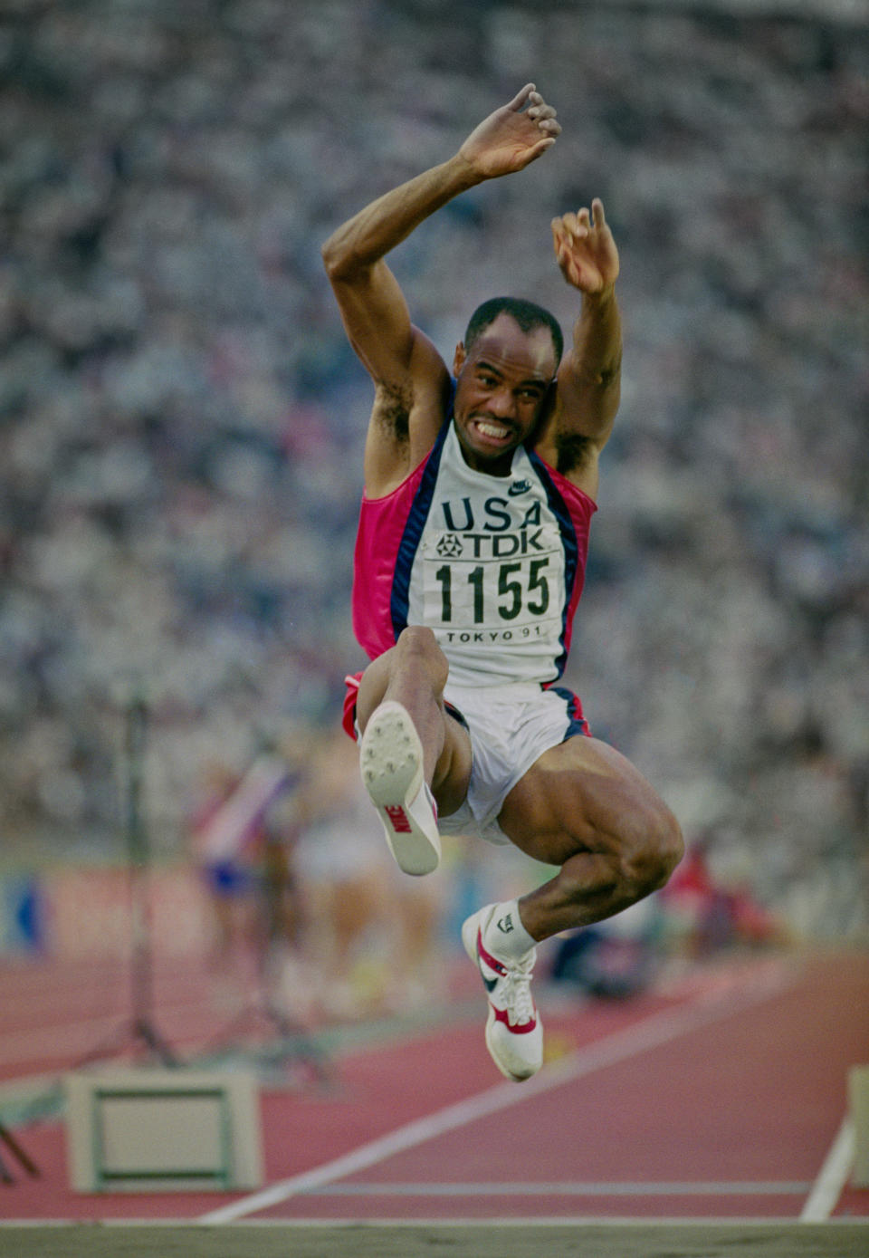 Mike Powell of the United State during the Long Jump event at the IAAF World Athletic Championships on 30th August 1991 at the Olympic Stadium in Tokyo, Japan. Powell broke Bob Beamon's 23-year-old long jump world record by 5 cm (2 inches), leaping 8.95 m (29 ft 4 in). (Photo by Mike Powell/Getty Images)