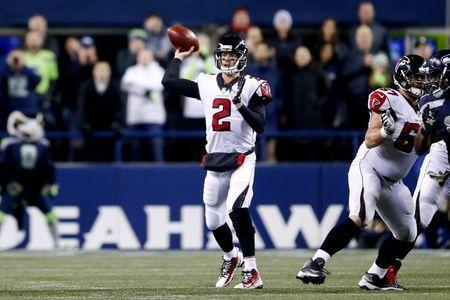 Nov 20, 2017; Seattle, WA, USA; Atlanta Falcons quarterback Matt Ryan (2) passes against the Seattle Seahawks during the second quarter at CenturyLink Field. Joe Nicholson-USA TODAY Sports
