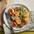 """<p>Asparagus, snap peas and a touch of lemon zest bring fresh spring flavor to this riff on classic risotto made with a whole-grain rice blend.</p> <p> <a href=""""https://www.eatingwell.com/recipe/7886351/wild-rice-risotto-with-shrimp-spring-vegetables/"""" rel=""""nofollow noopener"""" target=""""_blank"""" data-ylk=""""slk:View recipe"""" class=""""link rapid-noclick-resp""""> View recipe </a></p>"""