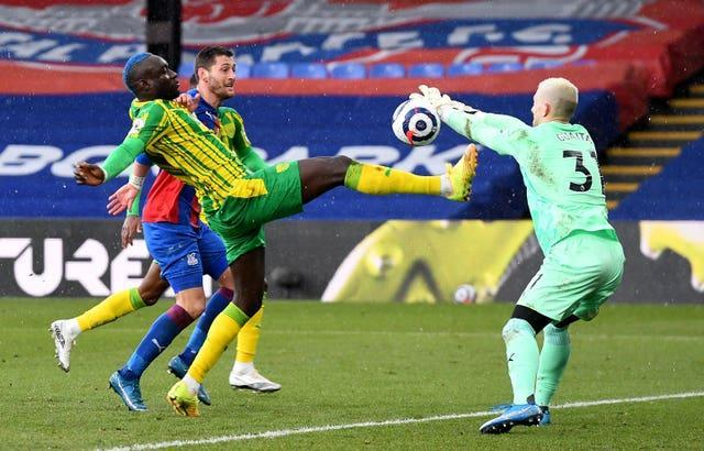 Mbaye Diagne tries to hook the ball goalwards