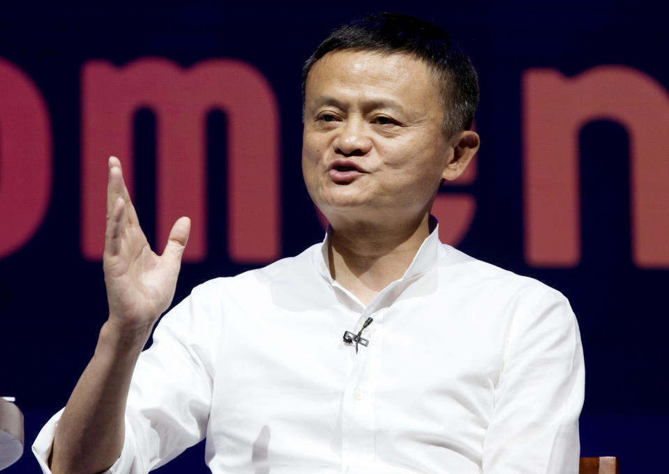 FILE - In this Oct. 12, 2018, file photo, Chairman of Alibaba Group Jack Ma speaks during a seminar in Bali, Indonesia. China's market regulator will increase scrutiny and regulation around the community group buying industry in China, summoning some of its largest tech companies involved to discuss the matter as it looks to eradicate anti-monopoly practices in the industry. In a statement on Tuesday, Dec. 23, 2020, China's State Administration for Market Regulation said it had held a meeting with six internet platform companies, including e-commerce firms Alibaba, JD.com and Pinduoduo, to discuss the regulation of community group buying. (AP Photo/Firdia Lisnawati, File)