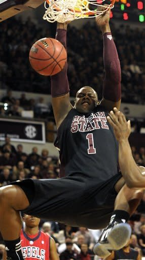 Mississippi State's Renardo Sidney (1) dunks during the first half of the their NCAA college basketball game with Mississippi in Starkville, Miss., Thursday, Feb. 9, 2012. (AP Photo Jim Lytle)