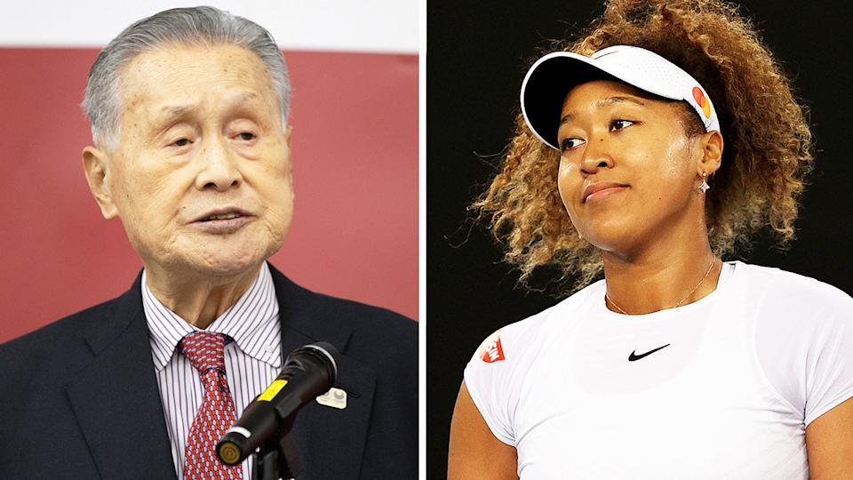 Naomi Osaka (pictured) after a point at the Melbourne Summer Series and Olympic chief organiser Yoshiro Mori (pictured left) during a press conference.