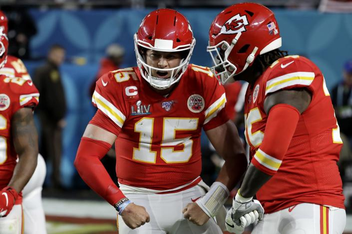 Kansas City Chiefs quarterback Patrick Mahomes (15) won't be able to play several of his other favorite sports for a while. (AP Photo/Seth Wenig)