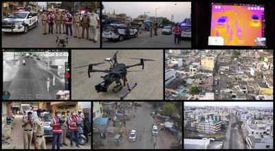 Cyient deployed Drones for Cyberabad Police department to monitor the people movement during COVID-19 lockdown in Hyderabad, India