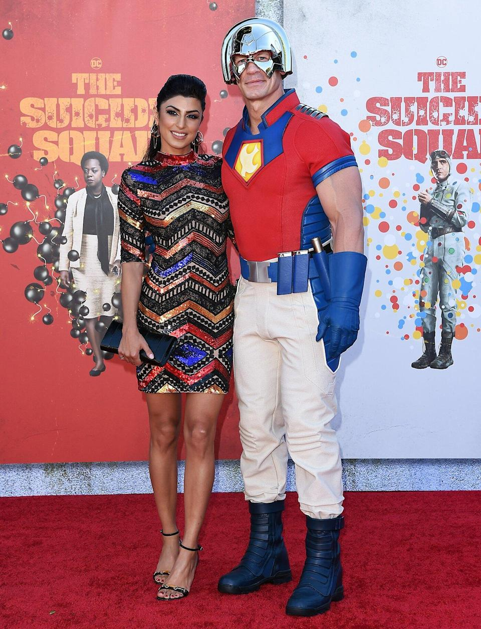 """Shay Shariatzadeh and John Cena attend Warner Bros. Premiere of """"The Suicide Squad"""" at The Landmark Westwood on August 02, 2021 in Los Angeles, California."""