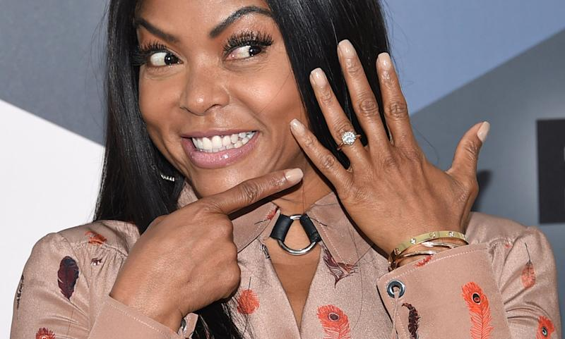 Taraji P. Henson points to her engagement ring as she attends the Fox Networks Group 2018 programming presentation afterparty at Wollman Rink in Central Park on Monday, May 14, 2018, in New York. (Photo by Evan Agostini/Invision/AP)