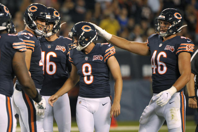The Chicago Bears congratulate kicker Elliott Fry (8) after he made a field goal during the first half of the team's NFL preseason football game against the Carolina Panthers on Thursday, Aug. 8, 2019, in Chicago. (AP Photo/Mark Black )