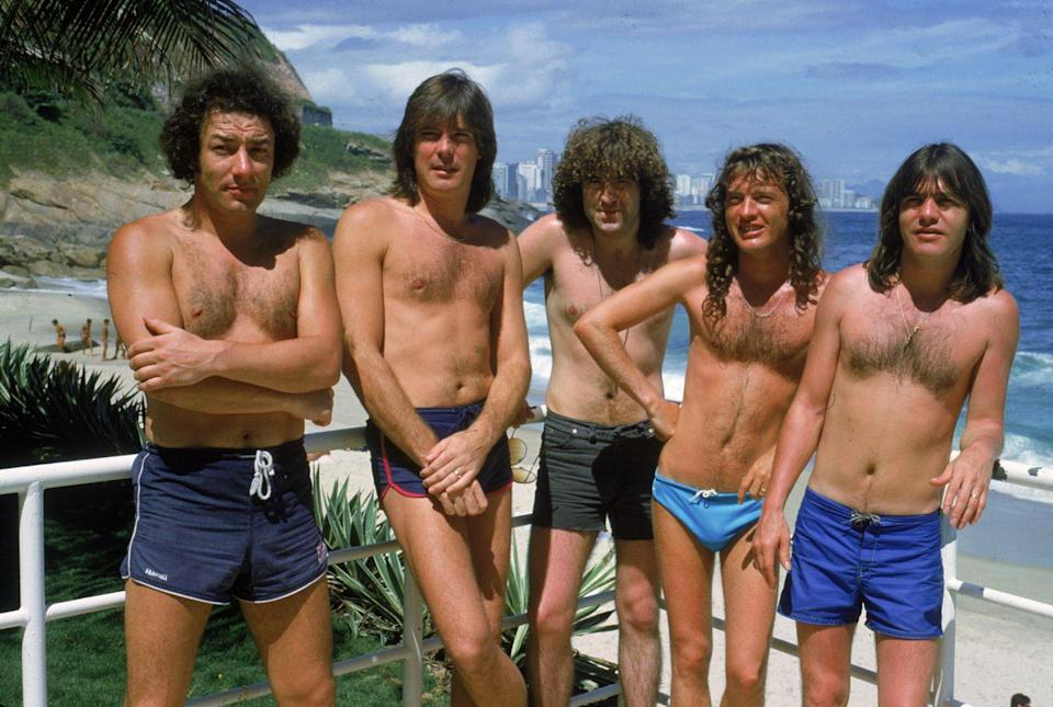<p>The members of AC/DC skipped their schoolboy outfits as they hit the beaches of Brazil.</p>