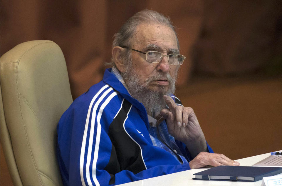 <p>Fidel Castro attends the last day of the 7th Cuban Communist Party Congress in Havana, Cuba. Fidel Castro formally stepped down in 2008 after suffering gastrointestinal ailments and public appearances have been increasingly unusual in recent years, April 19, 2016. (Ismael Francisco/Cubadebate via AP) </p>