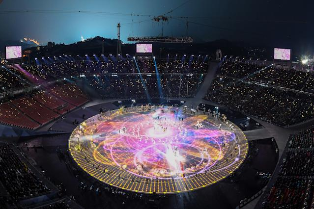 <p>General view during the opening ceremony of the Pyeongchang 2018 Winter Olympic Games at the Pyeongchang Stadium on February 9, 2018. / AFP PHOTO / François-Xavier MARIT (Photo credit should read FRANCOIS-XAVIER MARIT/AFP/Getty Images) </p>