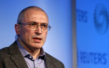 Former Russian tycoon Mikhail Khodorkovsky speaks during a Reuters Newsmaker event at Canary Wharf in London