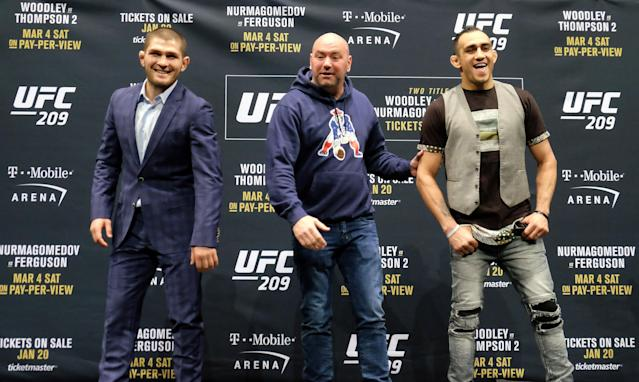 Khabib Nurmagomedov and Tony Ferguson have been scheduled to fight four times with each fight being canceled due to injury. (Getty Images)