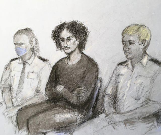 Danyal Hussein, centre, appearing at the Old Bailey