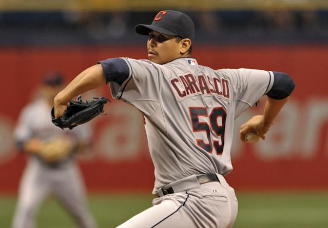 Cleveland Indians starter Carlos Carrasco pitches against the Tampa Bay Rays during the fifth inning of a baseball game Wednesday, July 1, 2015, in St. Petersburg, Fla. (AP Photo/Steve Nesius)