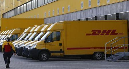 Trucks are parked at new distribution centre of German postal and logistics group Deutsche Post DHL in Berlin