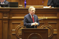 South Carolina Sen. Dick Harpootlian, D-Columbia, speaks in favor of a bill that would add the firing squad to the electric chair and lethal injection as execution methods in the state on Tuesday, March 2, 2021, in Columbia, S.C. The state hasn't had the chemicals to do lethal injection for years. (AP Photo/Jeffrey Collins)