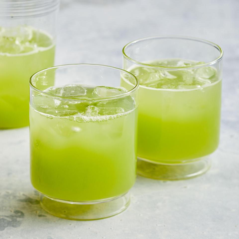 "<p>This beautiful bright green cucumber juice is packed with fresh cucumber flavor. Coconut water and apple add natural sweetness to this refreshing drink. <a href=""https://www.eatingwell.com/recipe/7890098/cucumber-juice/"" rel=""nofollow noopener"" target=""_blank"" data-ylk=""slk:View recipe"" class=""link rapid-noclick-resp""> View recipe </a></p>"