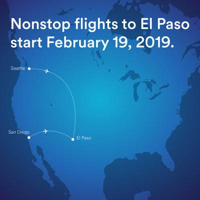Alaska Airlines begins daily nonstop flights between Seattle and El Paso, and El Paso and San Diego, on Feb. 19.