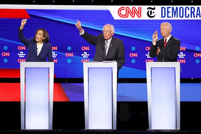 <p>In October 2019, Harris went toe-to-toe with the other Democratic candidates at the Democratic Party presidential debate at Otterbein University. Here, Harris is pictured with Bernie Sanders (center) and Joe Biden (right). </p> <p>She would drop out of the presidential race in December 2019. </p>