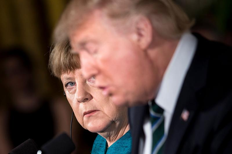 Angela Merkel and Donald Trump in Washington earlier this year: Getty