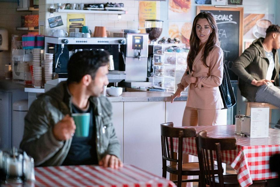 <p>Ruby subtly reveals that she knows what Kush did and won't take any further action if he returns the money.</p>