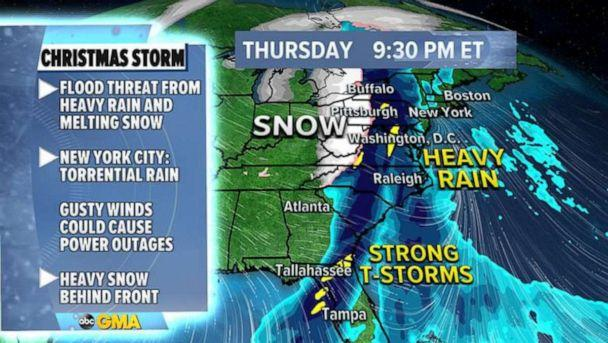 PHOTO: A new storm is set to bring extreme weather such as snowfall, severe thunderstorms and rain that may cause flooding, Dec. 21, 2020. (ABC News)