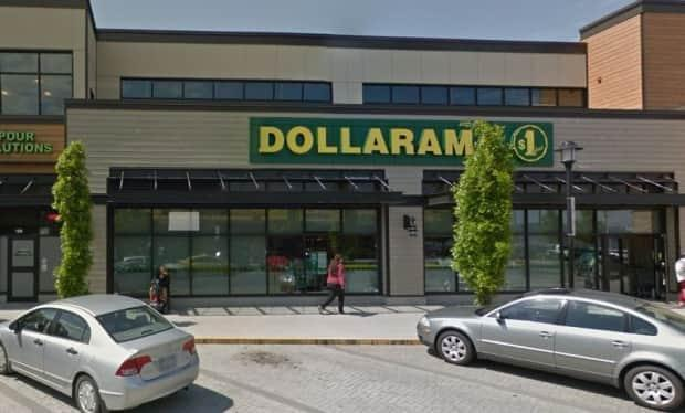 RCMP say a father, 50, was stabbed outside this Dollarama store in Nanaimo, B.C., during an argument over physical distancing. (Google Street View - image credit)
