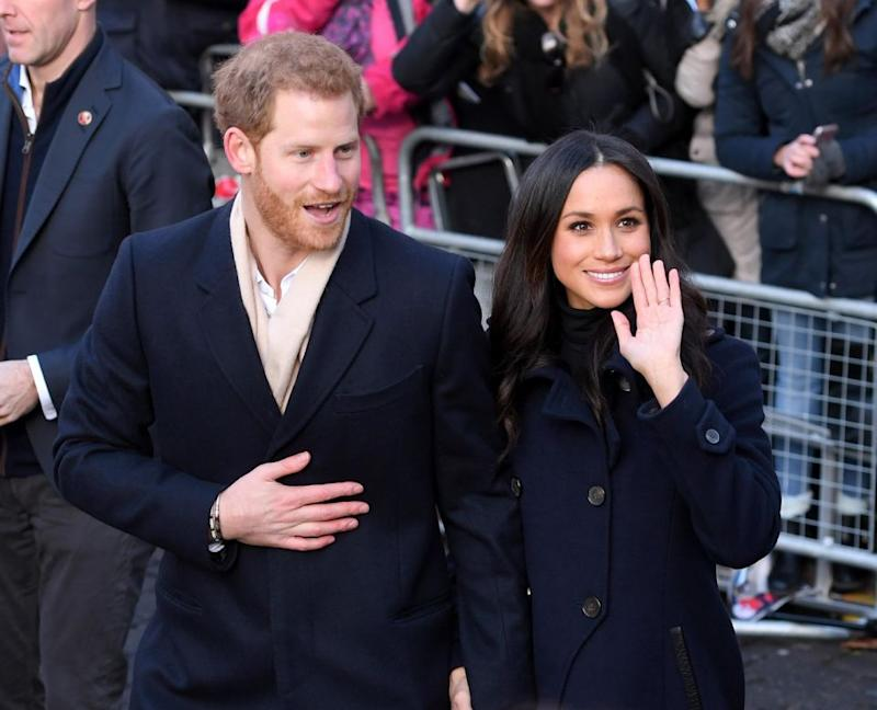 Things change slightly when Harry is around as Meghan adopts his rank. Photo: Getty
