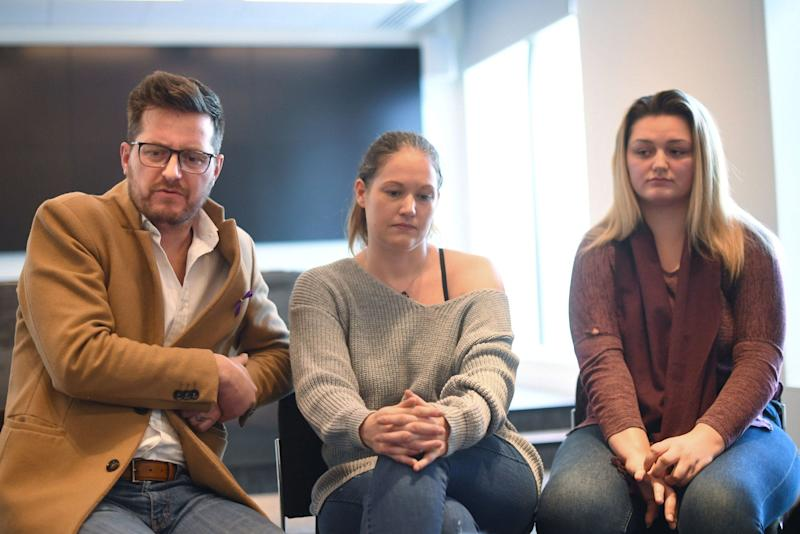 Family members father Peter, stepmother Joanne and sister Lucy of murdered teenager Jodie Chesney speaking at New Scotland Yard in London. (PA)
