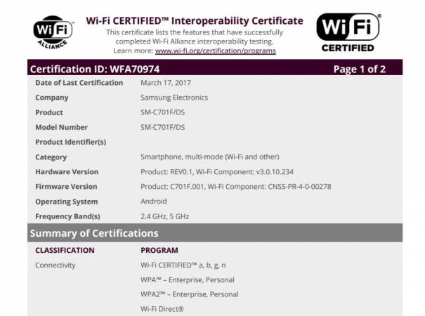 Samsung Galaxy C7 Pro, Wi-Fi Alliance, certification
