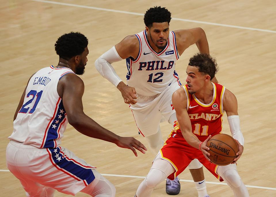 Atlanta Hawks star Trae Young does not have a lot of breathing room against the Philadelphia 76ers. (Kevin C. Cox/Getty Images)