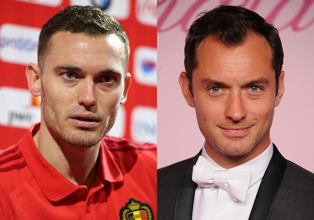<p>Belgium's Thomas Vermaelen and actor Jude Law </p>