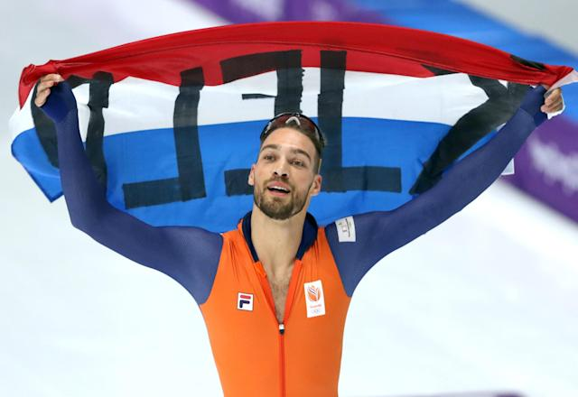 Speed Skating - Pyeongchang 2018 Winter Olympics - Men's 1000m competition finals - Gangneung Oval - Gangneung, South Korea - February 23, 2018 - Kjeld Nuis of the Netherlands celebrates after winning a gold medal. REUTERS/Lucy Nicholson