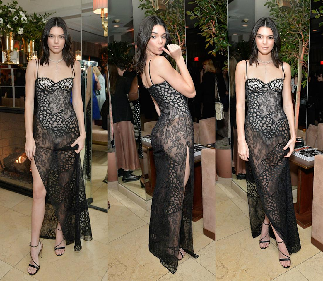 """<p><b>When: Jan. 27 2017</b> <br /> The 5'10"""" supermodel showed off her long legs and petite posterior in a sheer high-slit La Perla dress at Harper's Bazaar's 150 Most Fashionable Women party in LA. The see-through look is a hot trend right now, and can quite easily appear crude on the wrong person, but Kendall manages to make this sexy lace number look classy, don't you think? <i>(Photos: Getty)</i> </p>"""