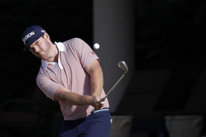 Grayson Murray hits to the 8th hole during the first round of The American Express golf tournament on the Stadium Course at PGA West on Thursday, Jan. 16, 2020, in La Quinta, Calif. (AP Photo/Marcio Jose Sanchez)