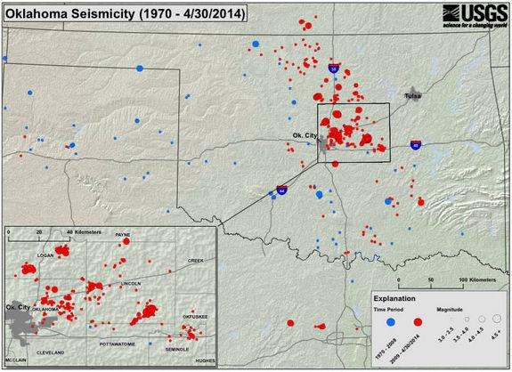 Oklahoma earthquakes magnitude-3 and greater since 1978.