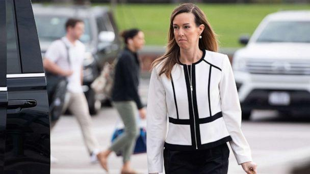 PHOTO: Jennifer Williams, an aide to Vice President Mike Pence, arrives for a deposition as part of the House Impeachment inquiries on Capitol Hill in Washington, D.C., Nov. 7, 2019. (Saul Loeb/AFP via Getty Images)