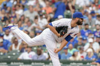 Chicago Cubs relief pitcher Adam Morgan (47) throws against the Kansas City Royals during the fifth inning of a baseball game Saturday, Aug. 21, 2021, in Chicago. (AP Photo/Mark Black)